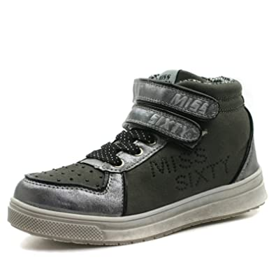 Miss Sixty Girls MS024 Ankle Boot w Side Zip Velcro Straps   Strass Detail  Silver f410f70e2c68