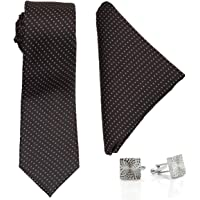 To The Nines Men's Elegant Red Tie Pocket Square and Cufflink Set