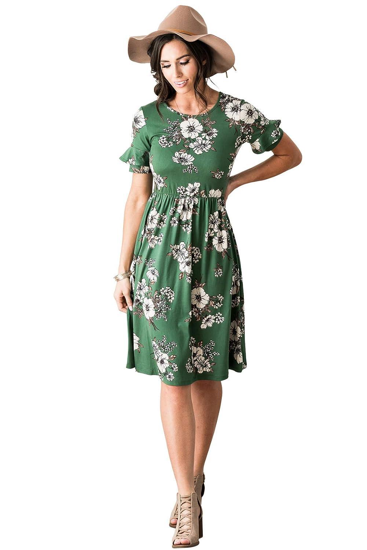 Emerald Green W Floral Print Mikapink  Nessa Modest Dress Modest Bridesmaid Dress