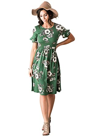 f549097131fa Nessa Modest Dress in Emerald Green w/Floral Print - XS, Modest Bridesmaid  Dress