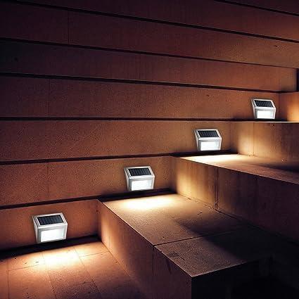 Gentil TechCode Outdoor Stairway Lights, Stainless Steel Outdoor Illumination  Solar Wall Stair Patio Light Pathway Lamp