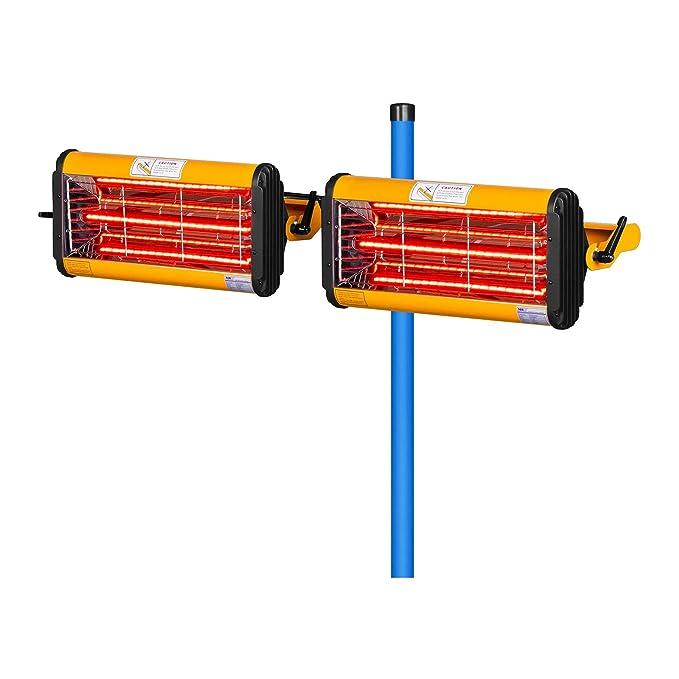 MSW IR-DRYER2000.2 Secador de Pintura Infrarrojo para Carrocería Coche (2200 W, 2 Lámparas, 40-100 °C, Superficie de Secado 800 x 800 mm, Altura Máxima 213 ...