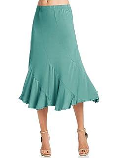 40877ff0cbc1ff Fashion California Womens Elastic Waist A-Line Ruffle Skirt (S-XXXL)