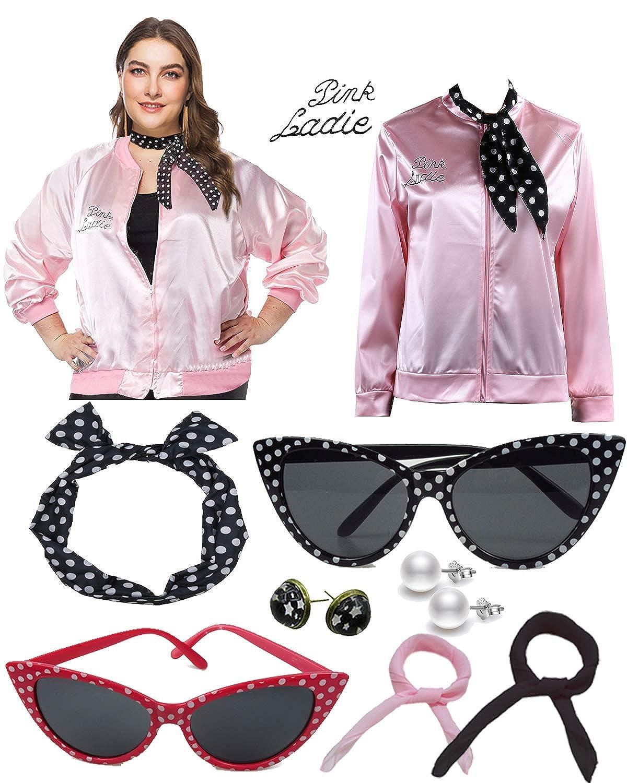 Amazon.com: 1950s Plus Size Pink Satin Jacket with Neck ...