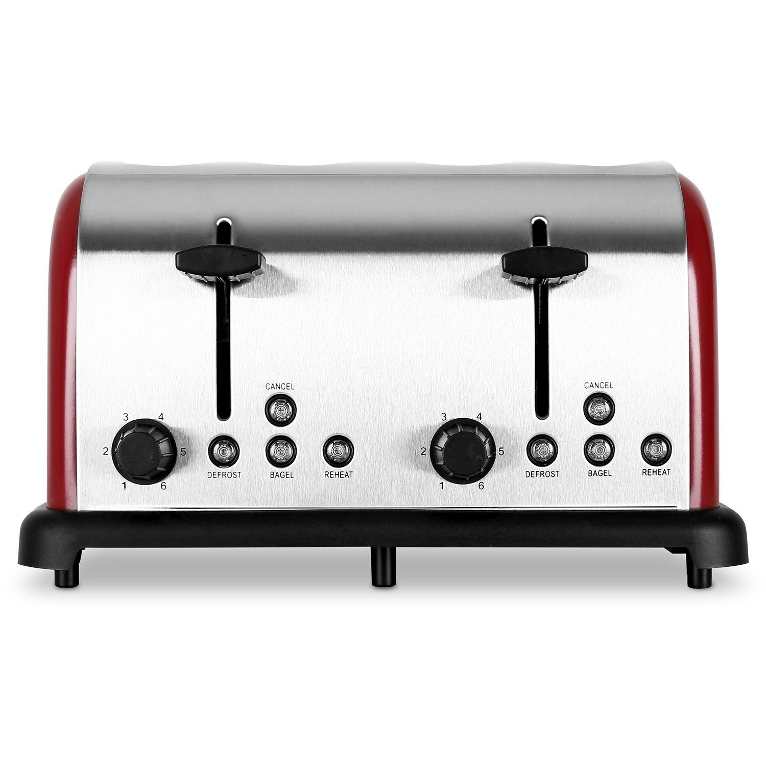 Klarstein 4-Slice Toaster • Stainless Steel • 6-Stage Adjustable Thermostat • 2 Extendable Crumb Collectors • 1650W • Bagel Function • Defrost & Reheat Functions • Warm Function • Silver 10004365