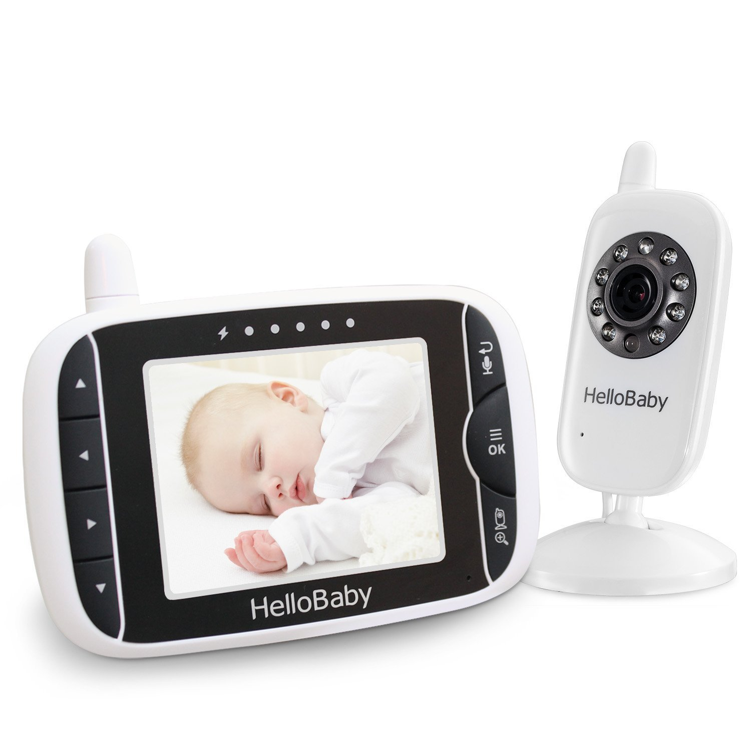HelloBaby Wireless Video Baby Monitor with Digital Camera, Night Vision Temperature Monitoring & 2 Way Talkback System, White (HB20)