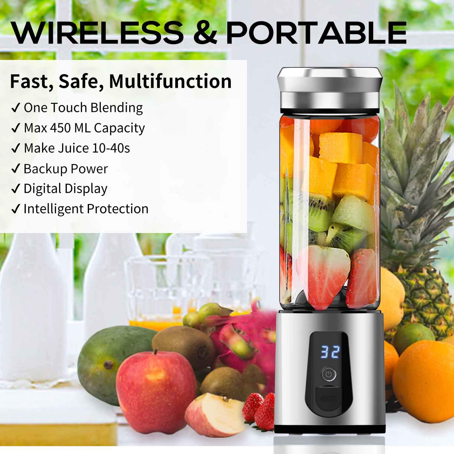 Personal Smoothie Blender,DOUHE Rechargeable Portable Blender Small Blender Mini USB Juicer Mixer -Shakes,Smoothies,Baby Food - Outdoor Travel Home Office,High Borosilicate Glass,BPA Free,Cordless by DOUHE (Image #2)