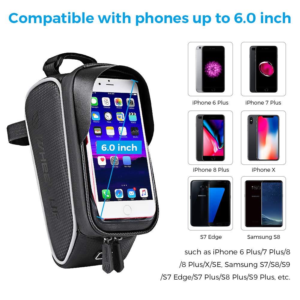 Support V/élo Smartphone Cadre Sacoche V/élo T/él/éphone Etanche avec Kit R/éparation V/élo 16 en 1 Imperm/éable Pochette Espace Rangement Ecran Tactile pour Smartphone sous 6,0 Pouces