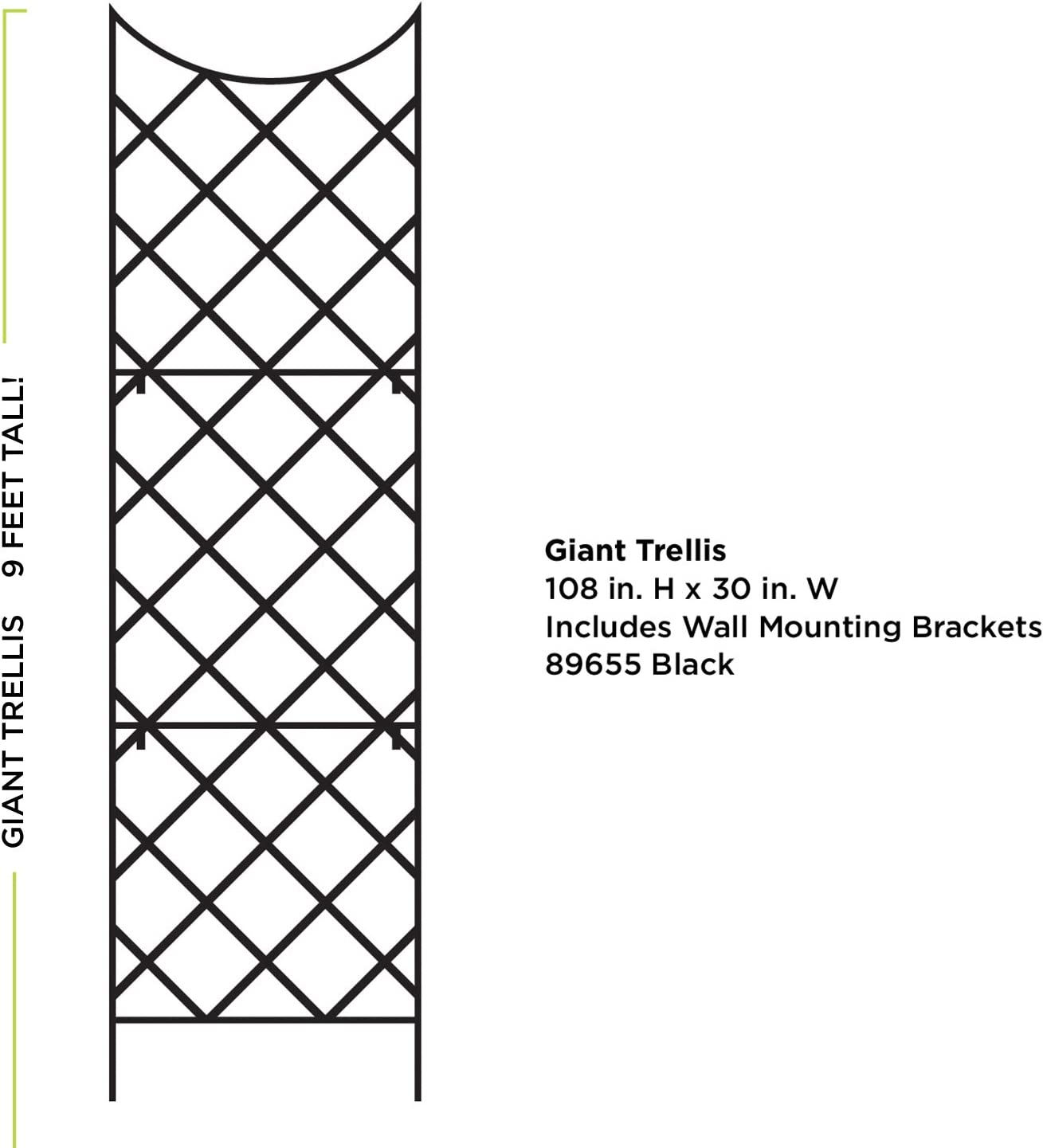 Panacea 89655 Giant Trellis, Includes Wall-Mounting Brackets, 108-Inch Height by 30-Inch Width, Black