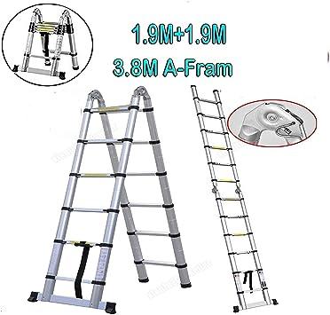 Escaleras telescópicas plegables de 3,8 m de aluminio antiderrapantes para pared y techo de loft, pintura y trabajos de limpieza: Amazon.es: Bricolaje y herramientas