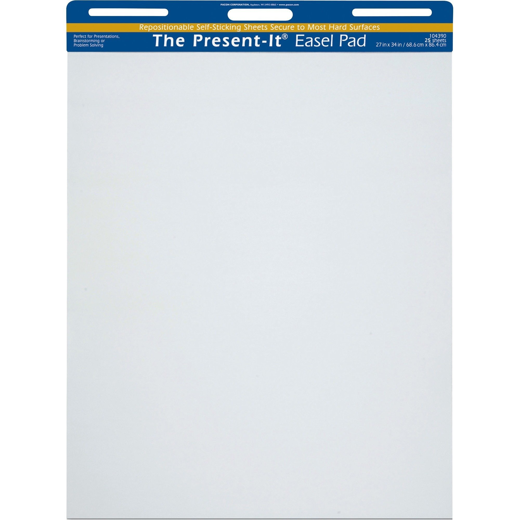 Present-It Easel Pad With Adhesive, 27''X34'', Unruled, 25 Sheets