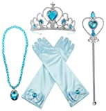 Alead Princess Elsa Dress Up Party Accessories et Gloves, Tiara, Wand And Necklace, Lake Blue, 4 Piece