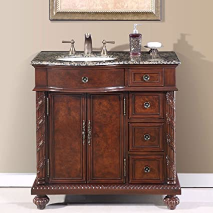 Silkroad Exclusive Baltic Brown Granite Stone Top Single Sink Bathroom  Vanity Cabinet, 36 Inch
