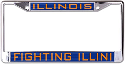 2 Illinois Illini NCAA Alumni Chrome Metal Laser Cut License Plate Frame Set