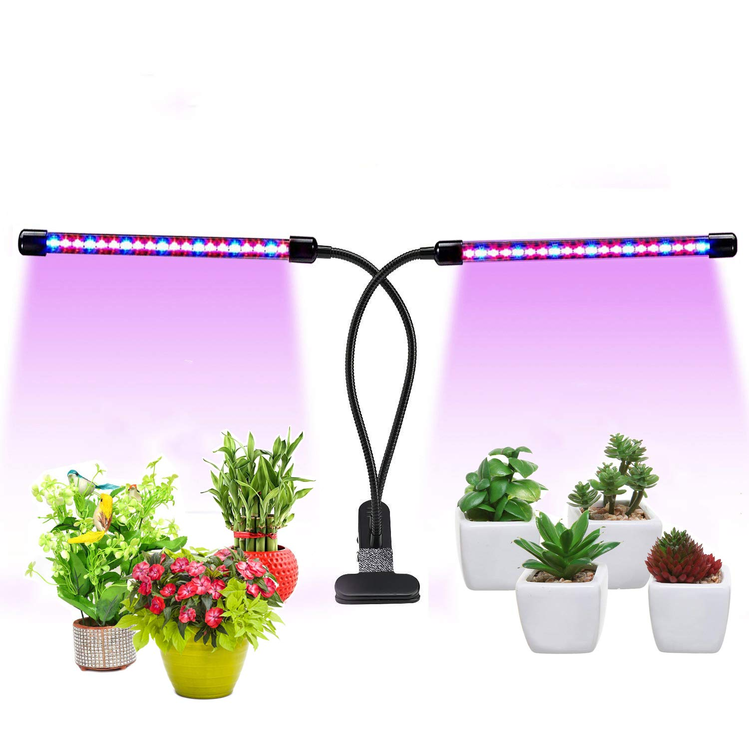 LED Grow Lights for Indoor Plants, Auto Turn ON & Off Plant Growing Light with 20W Dual Head/40 LED Bulbs/Red,Blue Spectrum/9 Dimmable Levels 3/9/12H Timer Grow Lamp Bulbs [2018 Upgraded]