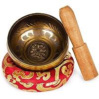 Klangschale Efantur Tibetische Klangschale für Meditationen, Entspannung, Stress, Chakra Heilungen, Gebete, Yoga und Achtsamkeit - 9,5cm Klangschalen Set mit Klöppel und Klangschalenkissen - Nepal