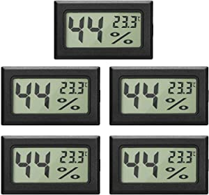 EEEKit 5-Pack LCD Digital Temperature Humidity Meter Thermometer, Mini Digital Thermometer Hygrometer and Humidity Gauge Celsius Display for Greenhouse/Cars/Home/Office(Black)