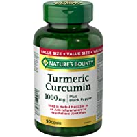 Nature's Bounty Turmeric Curcumin plus Black Pepper Pills and Herbal Health Supplement, Anti-inflammatory to Help Relieve Joint Pain, Source of antioxidants, 1000mg, 90 Capsules