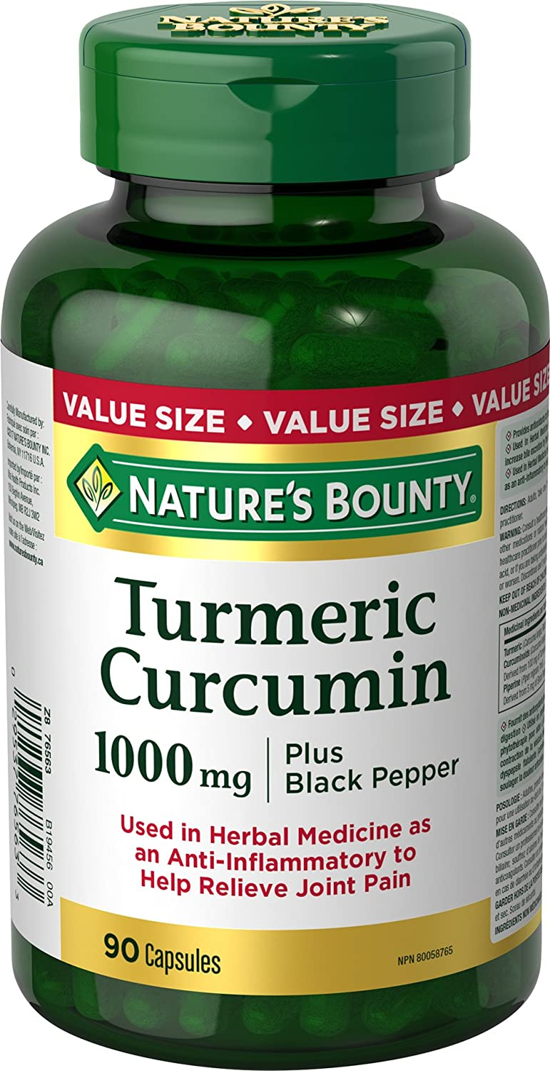 Nature s Bounty Turmeric Curcumin 1000mg Plus Black Pepper, 90 capsules