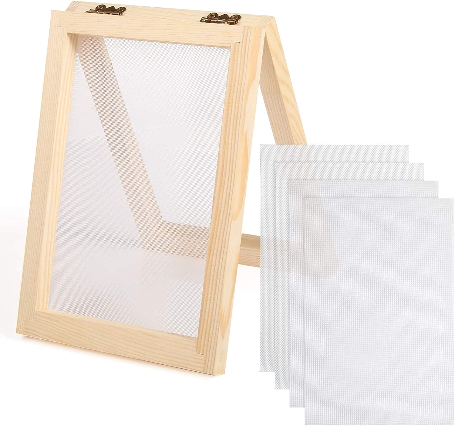 Aoibrloy 5 x 7 Inch Wooden Paper Making Mould Frame Papermaking Screen Kit for DIY Paper Craft