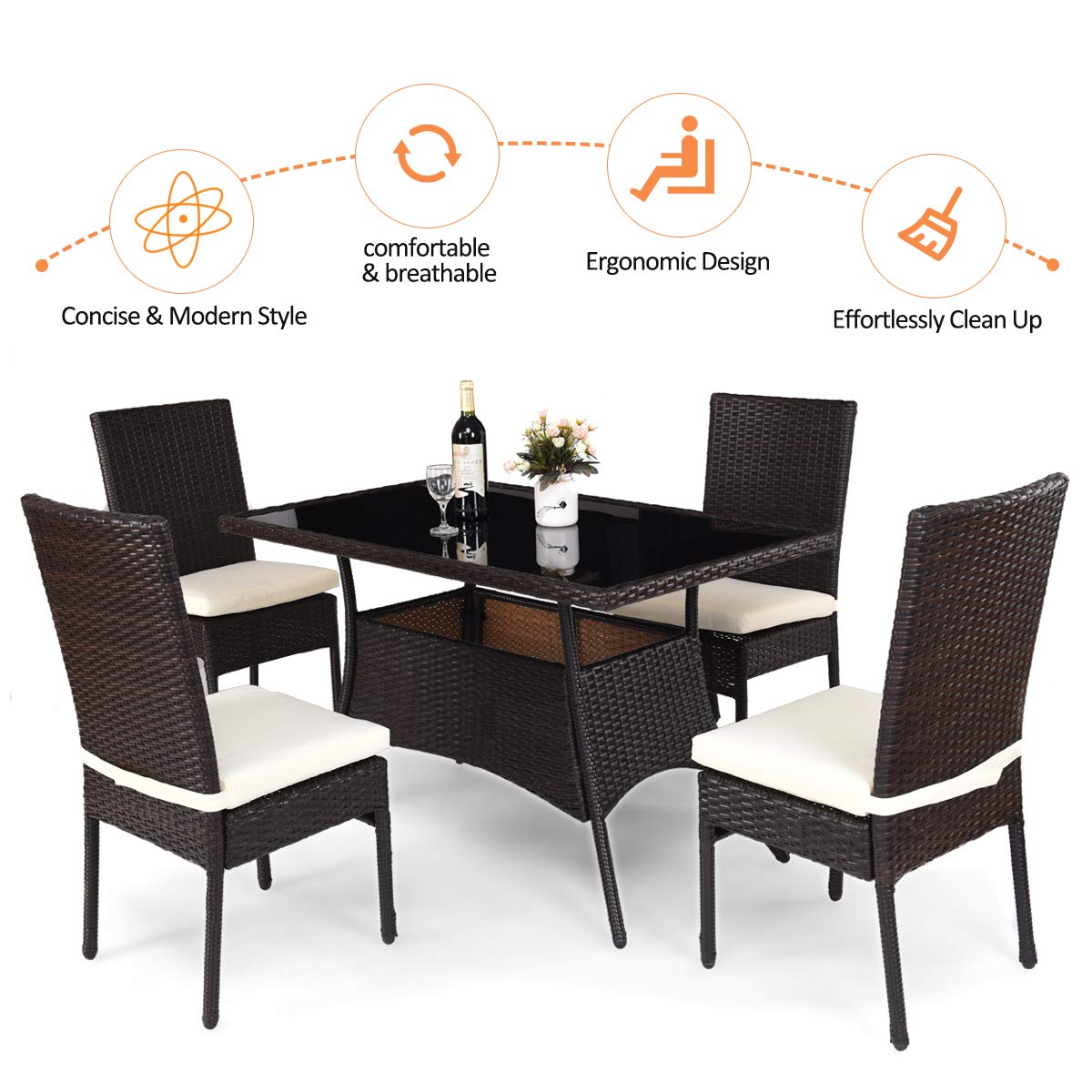 Tangkula Patio Furniture, 5 PCS All Weather Resistant Heavy Duty Wicker Dining Set with Chairs, Perfect for Balcony Patio Garden Poolside, 5 Piece Wicker Table and Chairs Set by Tangkula (Image #7)