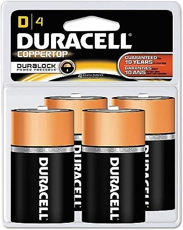 CopperTop Alkaline Batteries with Duralock Power Preserve Technology, D, 4/Pack