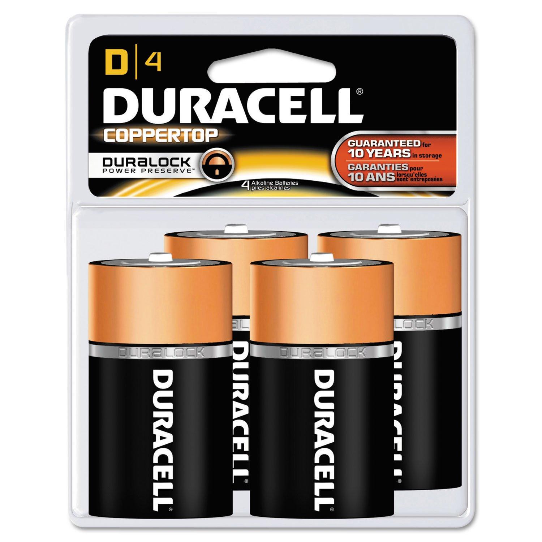 Duracell MN1300R4Z CopperTop Alkaline Batteries, D, 4/PK