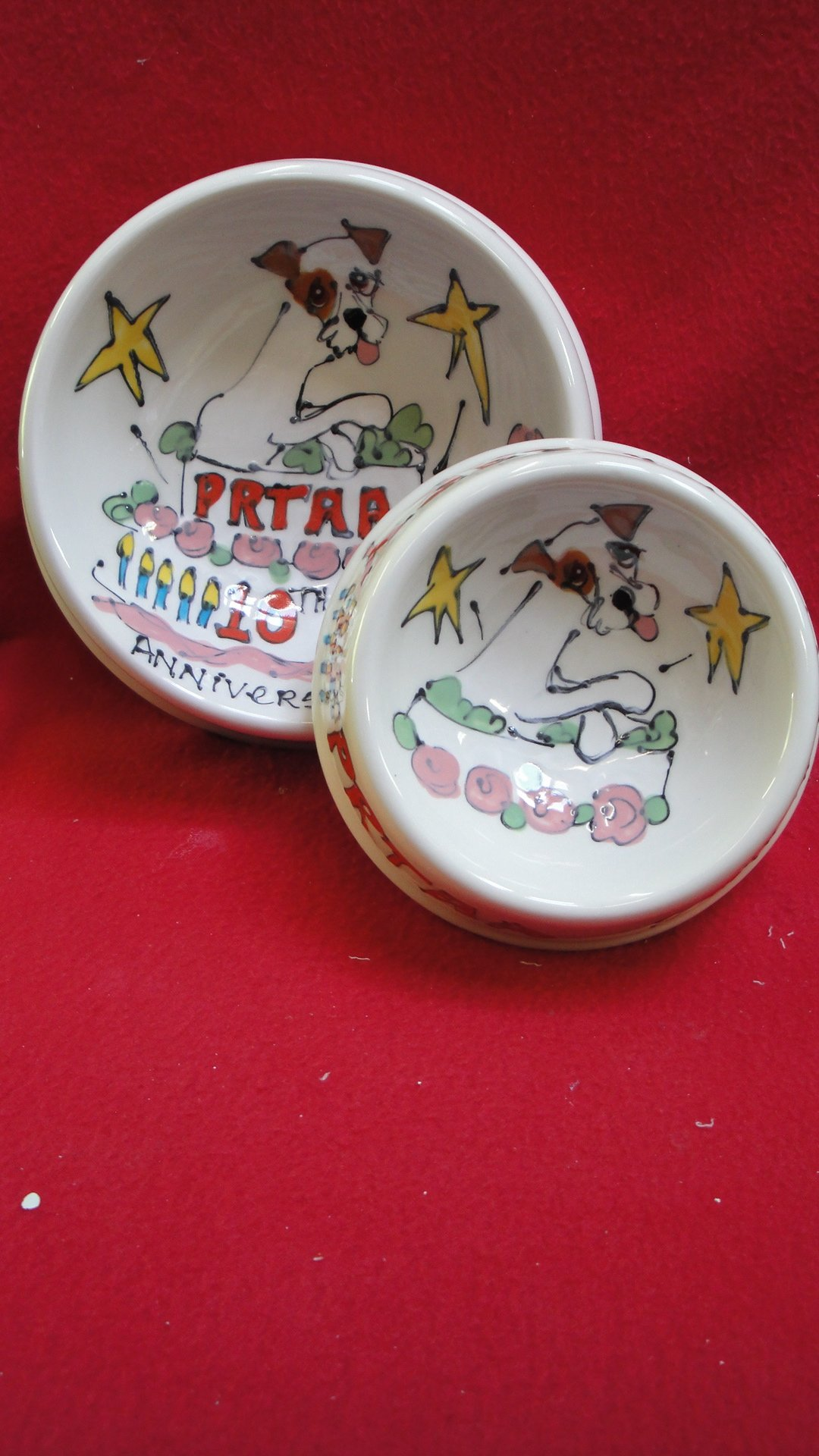 Wire Fox Terrier 8'' and 6'' Pet Bowls for Food and Water. Personalized at no Charge. Signed by Artist, Debby Carman.