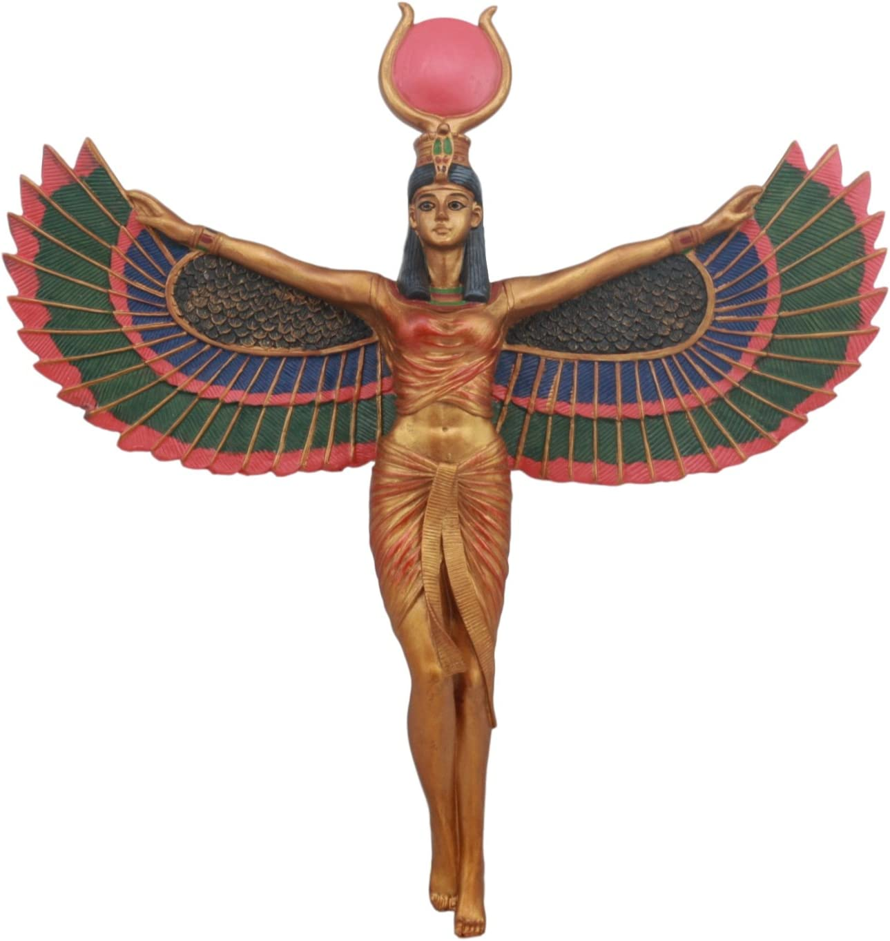 Ebros Ancient Egyptian Goddess Isis With Open Wings Wall Decor Isis Ra Deity Wall Hanging Plaque 11.5 Tall Figurine