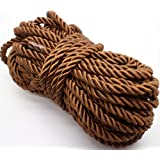 U Pick 10yds 5mm Decorative Twisted Satin Polyester Twine Cord Rope String Thread Shiny Cord Choker Thread (15:Coffee)