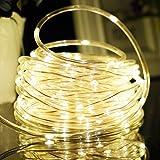 Aluvee 33ft 100 LED Solar Power Rope Lights Waterproof Portable String Lights Light Sensor Christmas Tree Thanksgiving Wedding Party Garden Lawn Patio Decoration(Multi Color)