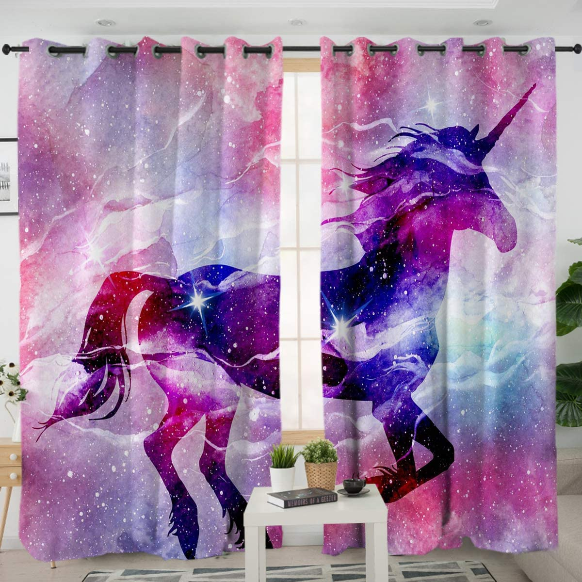 Sleepwish Unicorn Curtains Pink Lavender Blue White Galaxy Unicorn Curtain Panels Purple Space Living Room Decor 2 Panels, 52×96 Inch, Hook Top