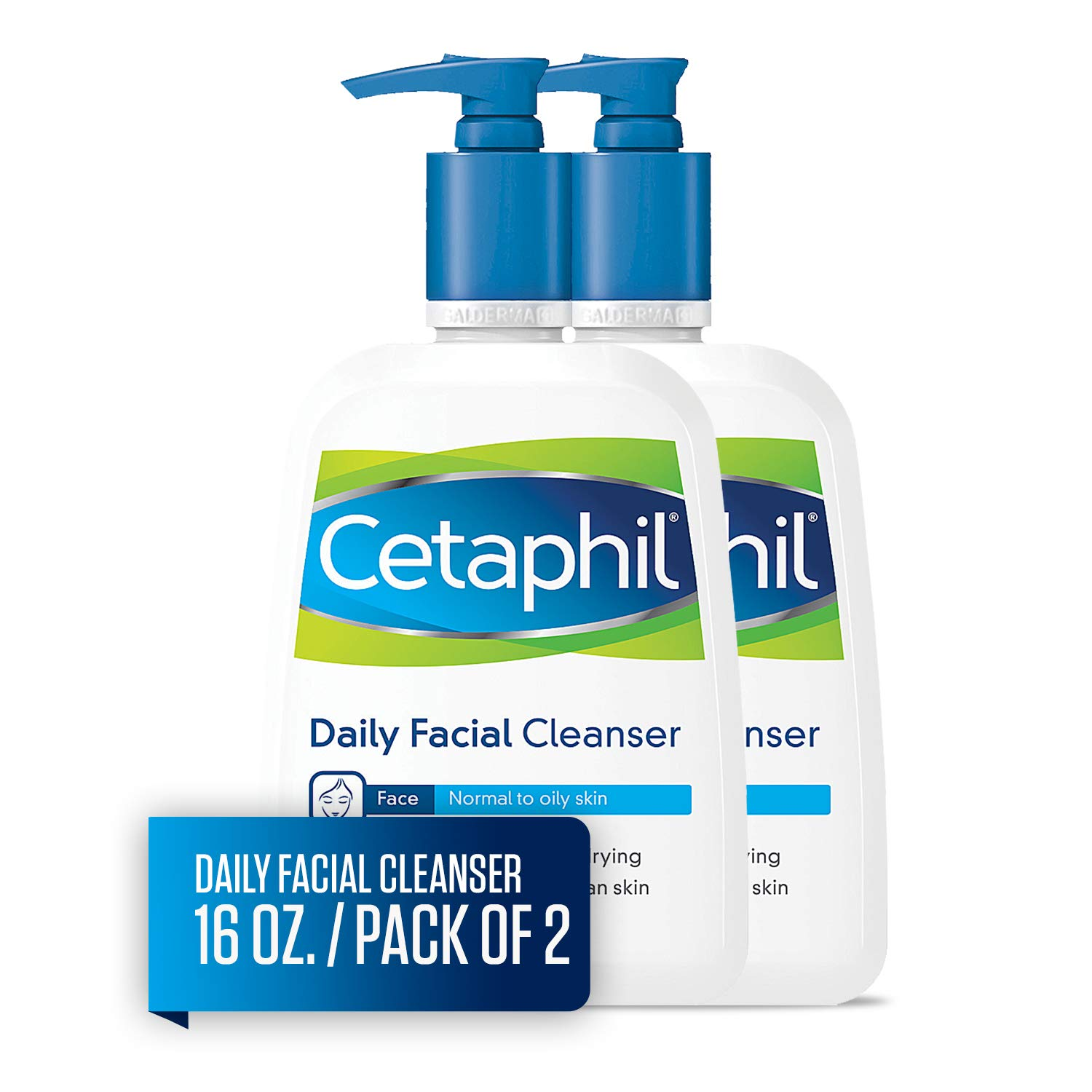 Cetaphil Daily Facial Cleanser, For Normal to Oily Skin, 16 Ounce (Pack of 2) by Cetaphil
