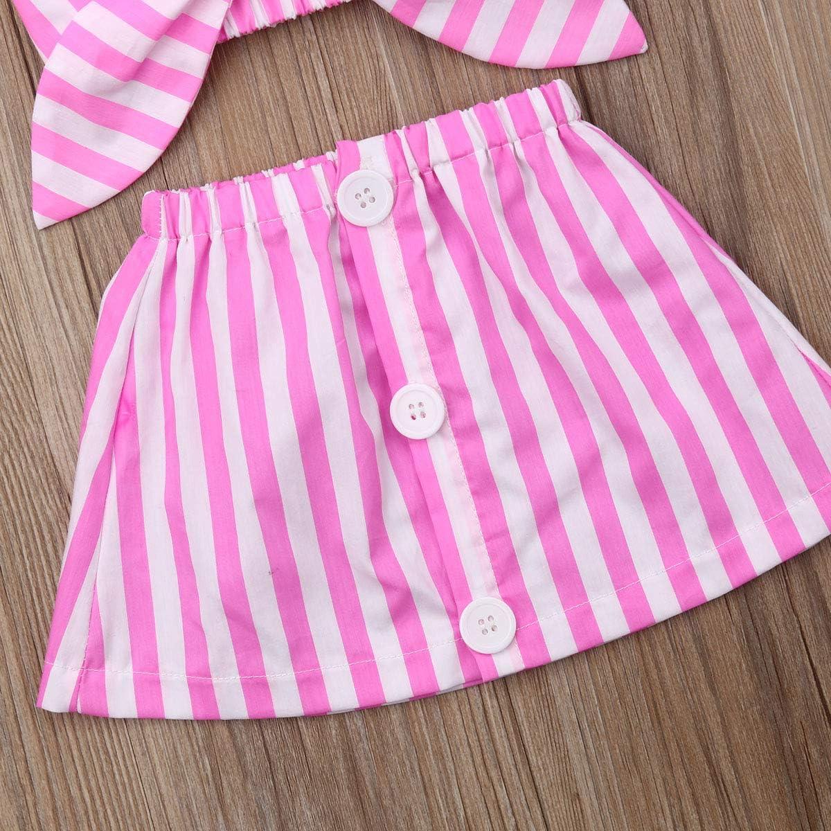 Infant Kid Baby Girls Sleeveless Halter Crop Top Vest T-Shirt Button Striped A-Line Skirt Headband Outfits