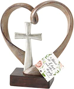 Dicksons Love Each Other 1 Peter 4:9 Silver Cross 4 x 8 Inch Resin Stone Tabletop Cross
