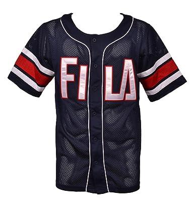 d2a056ddccf Fila Black Line Kyler Man Mesh Baseball Oversize Blue and Red T-Shirt Big  Logo Roundneck 684324PEAC: Amazon.co.uk: Clothing