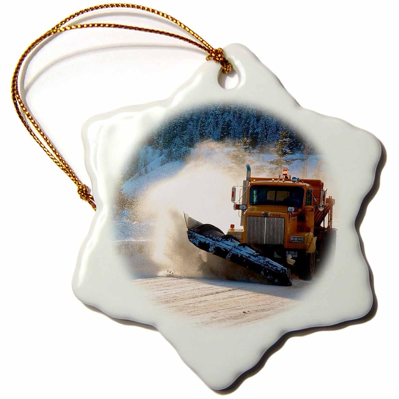 3 3D Rose Highway Snow Plow in Winter Wells-British Columbia Snowflake Porcelain Ornament