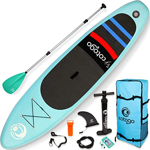 Cotogo Inflatable Stand Up Paddle Board, with All SUP Accessories 6 Inches Thickness Wide Stance Bottom Fin for Paddling Mint Green