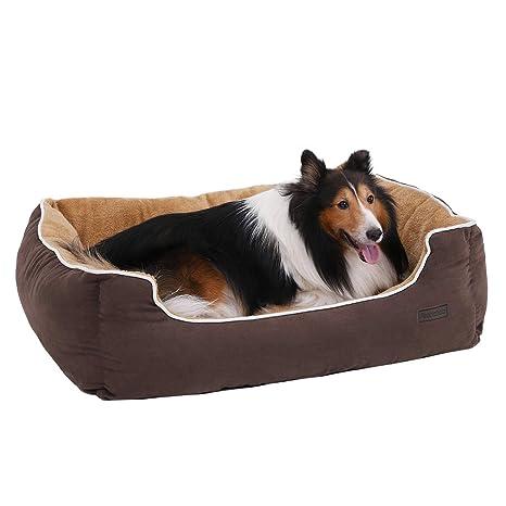 FEANDREA Cama para Perros, Sofá para Perros, Cesta para Perro,con Cojín Extraíble, 90 x 75 x 25 cm, Marrón y Beige PGW06YC