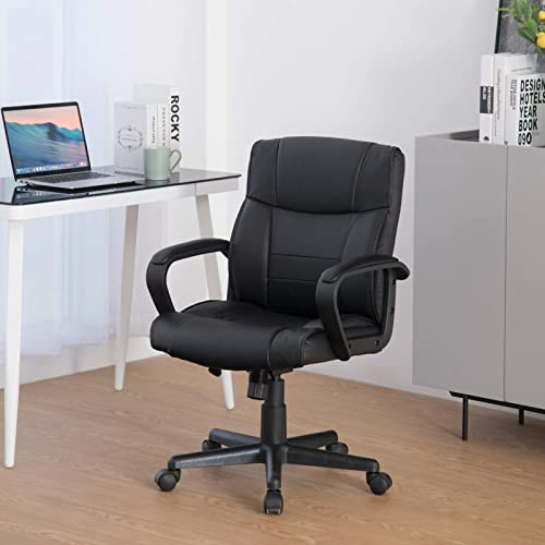 Height Adjustable Office Chair PU-Padded Mid-Back Chair w/Armrest Home Executive Leather Gaming Chair Lumbar Support w/Wheels Swivel Computer Desk Chairs Ergonomic Task Managerial Chair Black