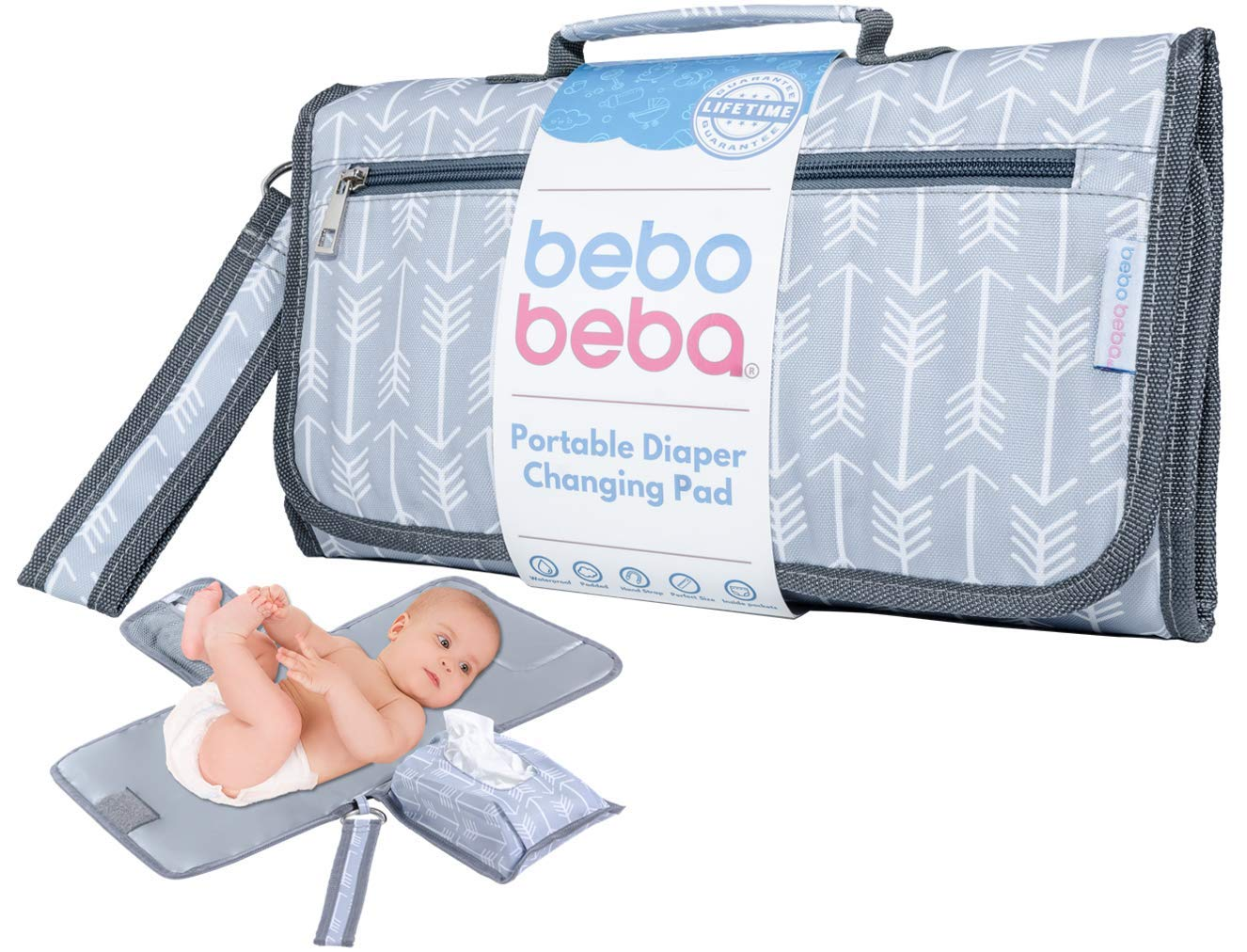 Baby Portable Changing Pad   Waterproof   Foldable Pad with Stroller Strap & Pocket for Diapers & Wipes   Changing Organizer Bag for Toddlers Infants & Newborns   Perfect Baby Shower Gift by bebo beba
