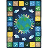 Joy Carpets Kid Essentials Geography & Environment One World Rug, Neutrals, 54