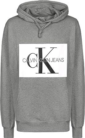 7c2e4307120e Calvin Klein Jeans Men s Monogram Box Logo Pullover Hoodie