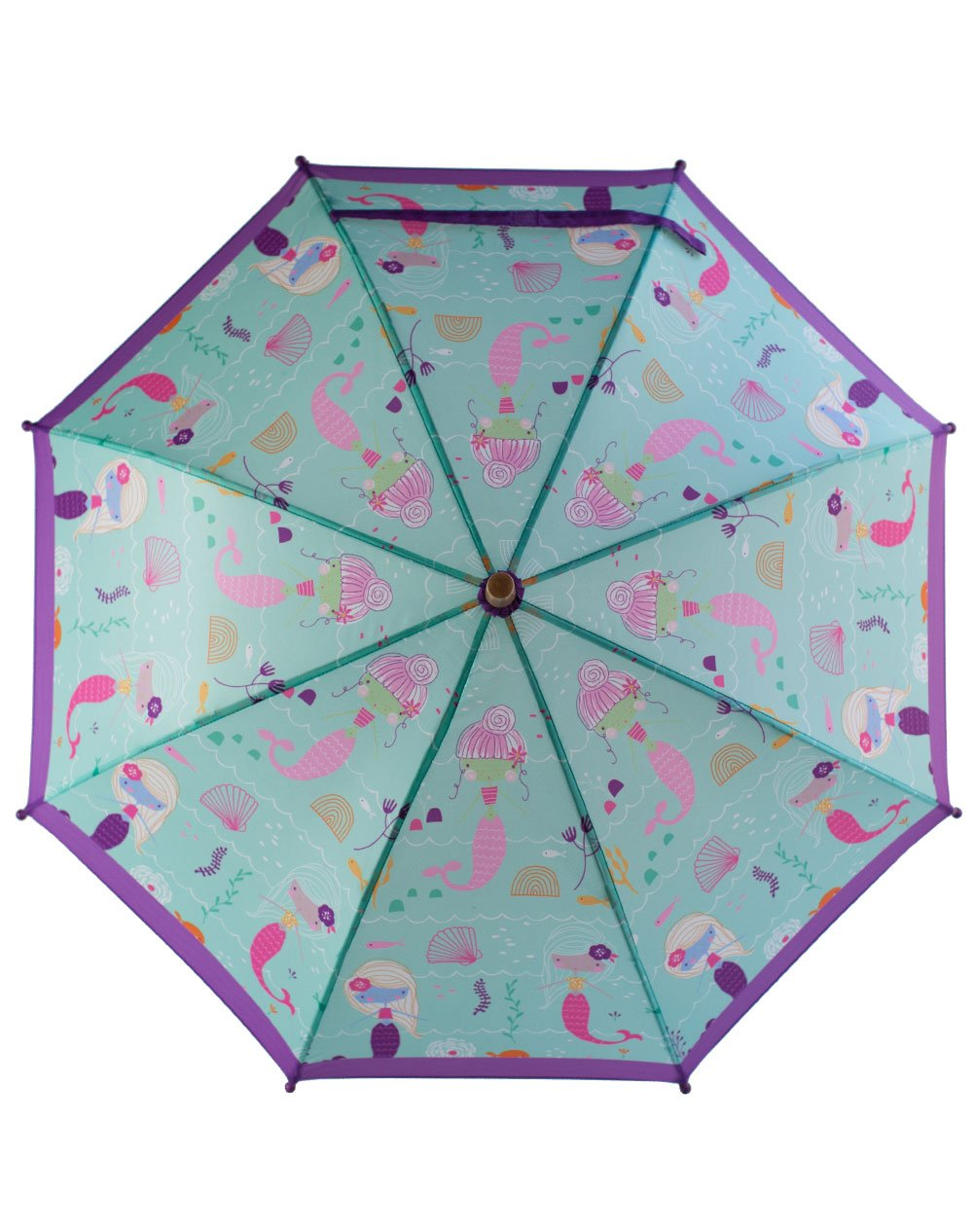 OAKI Double Layer Waterproof Kids Umbrellas with Windproof, UV Protection and C-Shaped Kid's Easy Hold Handle (Mermaids) by OAKI (Image #3)
