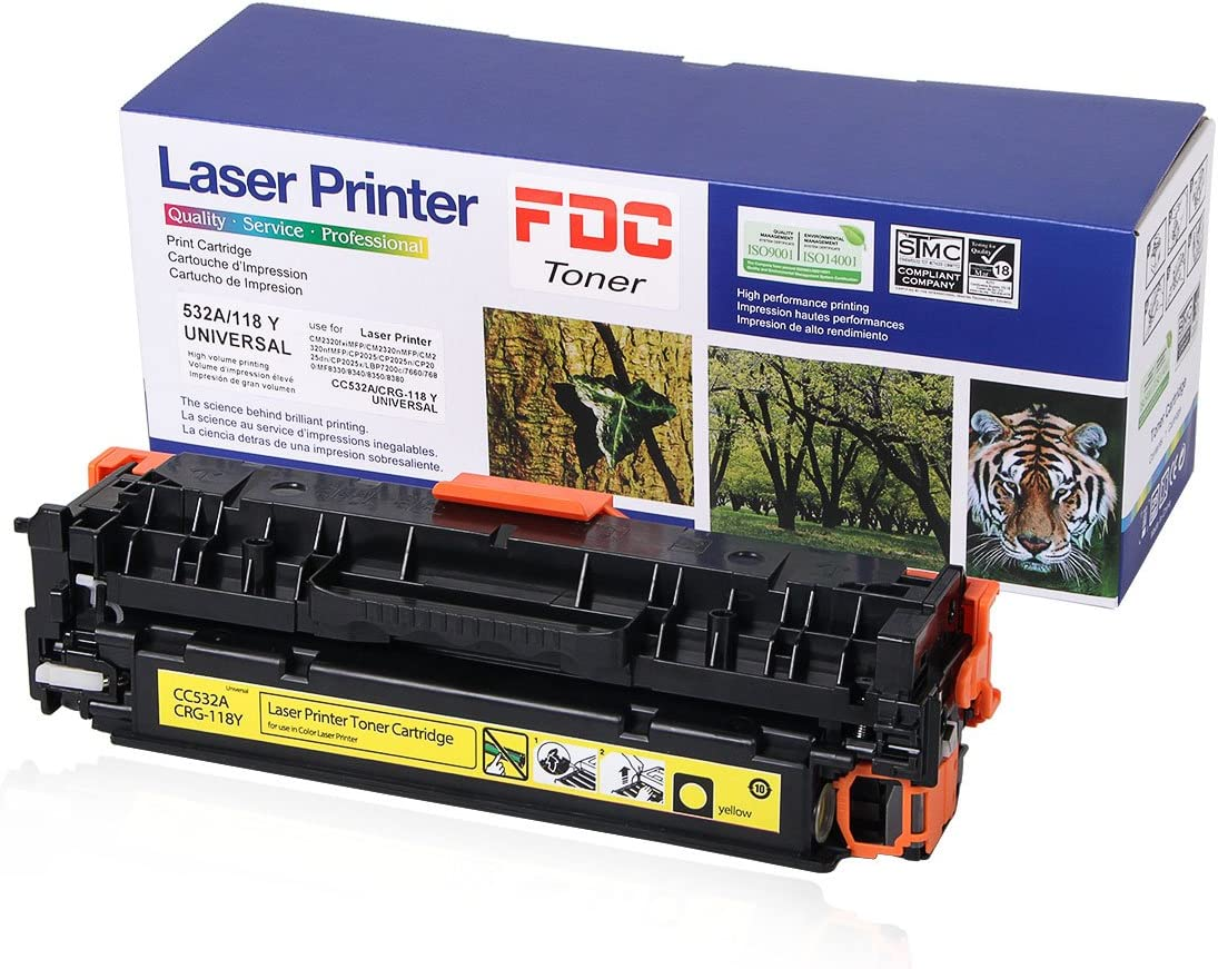 FDC Toner Cartridges CC532A 304A CRG-118 Toner Compatible for HP Color Laserjet Cp2025dn Cp2025n CP2025x CP2025 Cm2320fxi Cm2320n CM2320nf, Canon ImageCLASS MF726Cdw LBP7660Cdn(Yellow)