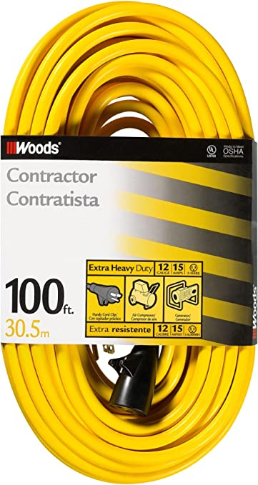 Woods 992555 12 Gauge Extra Heavy Duty 100 Ft Yellow 3 Prong Outdoor Extension Cord Clip Water Resistant Reinforced Blades Sjtw High Visibility Vinyl Jacket Foot Electrical Cables Amazon Com