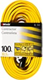 Woods 992555 12-Gauge Extra Heavy Duty 100 ft, Yellow 3 Prong Outdoor Extension Cord Clip, Water Resistant, Reinforced…