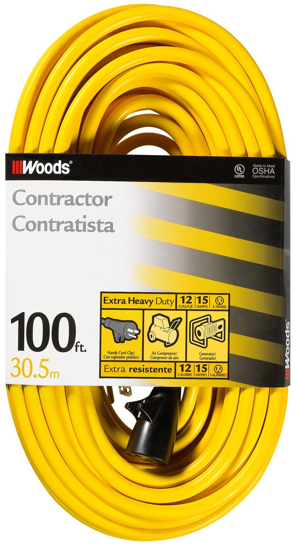 Woods 992555 12-Gauge Extra Heavy Duty 100 ft, Yellow 3 Prong Outdoor Extension Cord Clip, Water Resistant, Reinforced Blades, SJTW High Visibility Vinyl Jacket, Foot