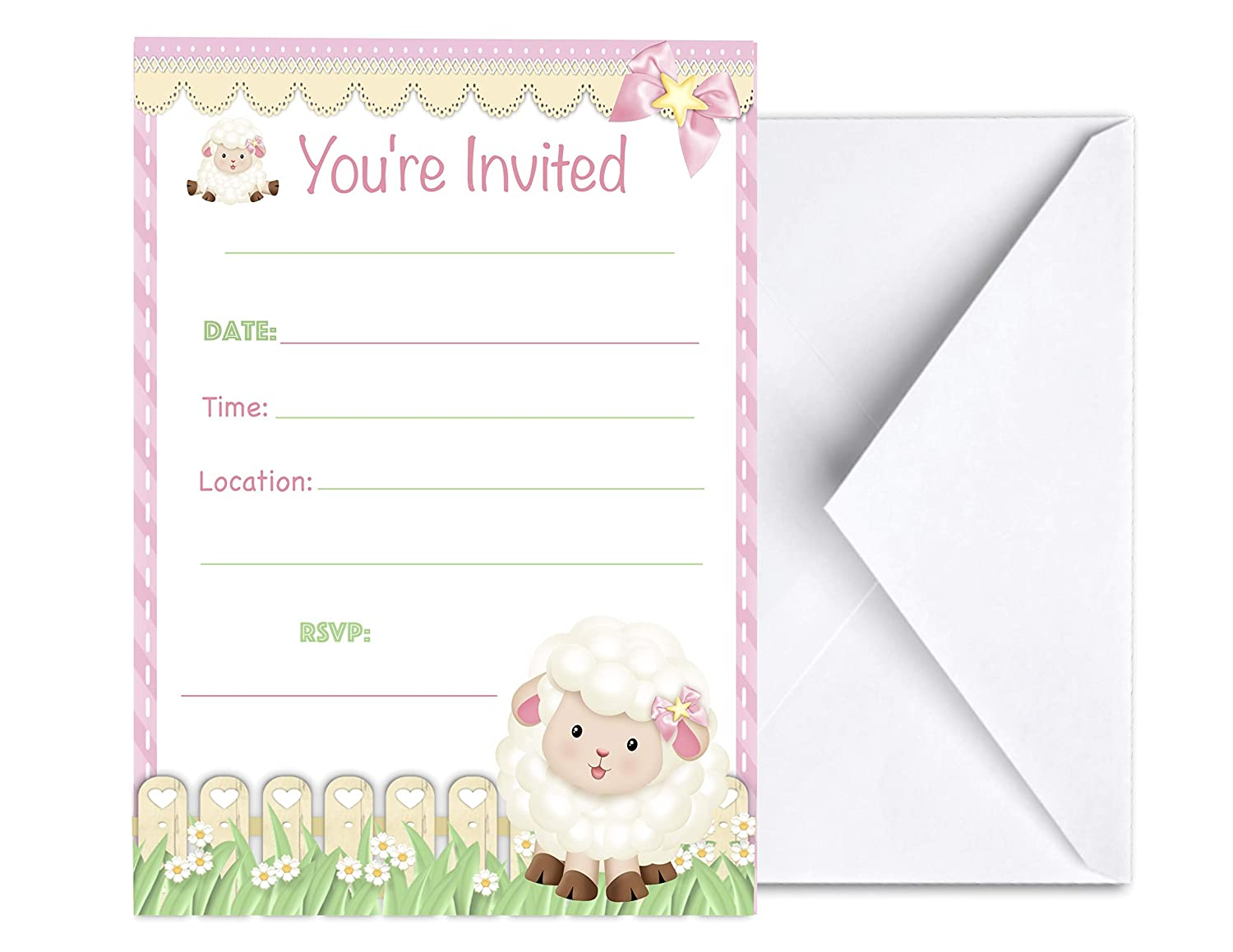 Pink Lamb Birthday Party Invites Cards First Communion Baptism Sheep Invitations 15 pcs for Girls Baby Shower