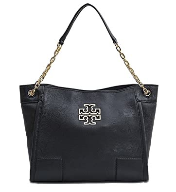 f92b650555d Amazon.com  Tory Burch Britten Small Slouchy Tote Bag In Black 8170  Shoes